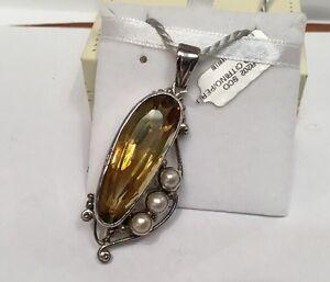 Ciondolo-Argento-Citrino-Perle