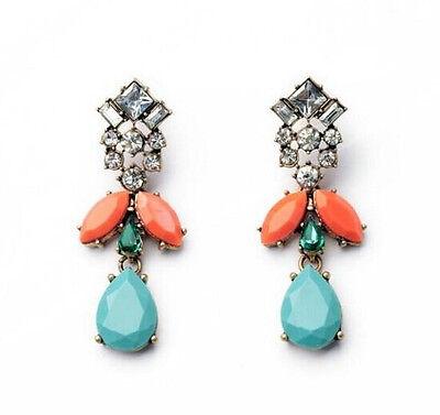 Hot Fashion Elegant Resin Leaf Rhinestone Flower Water Drop Pendant Stud Earring