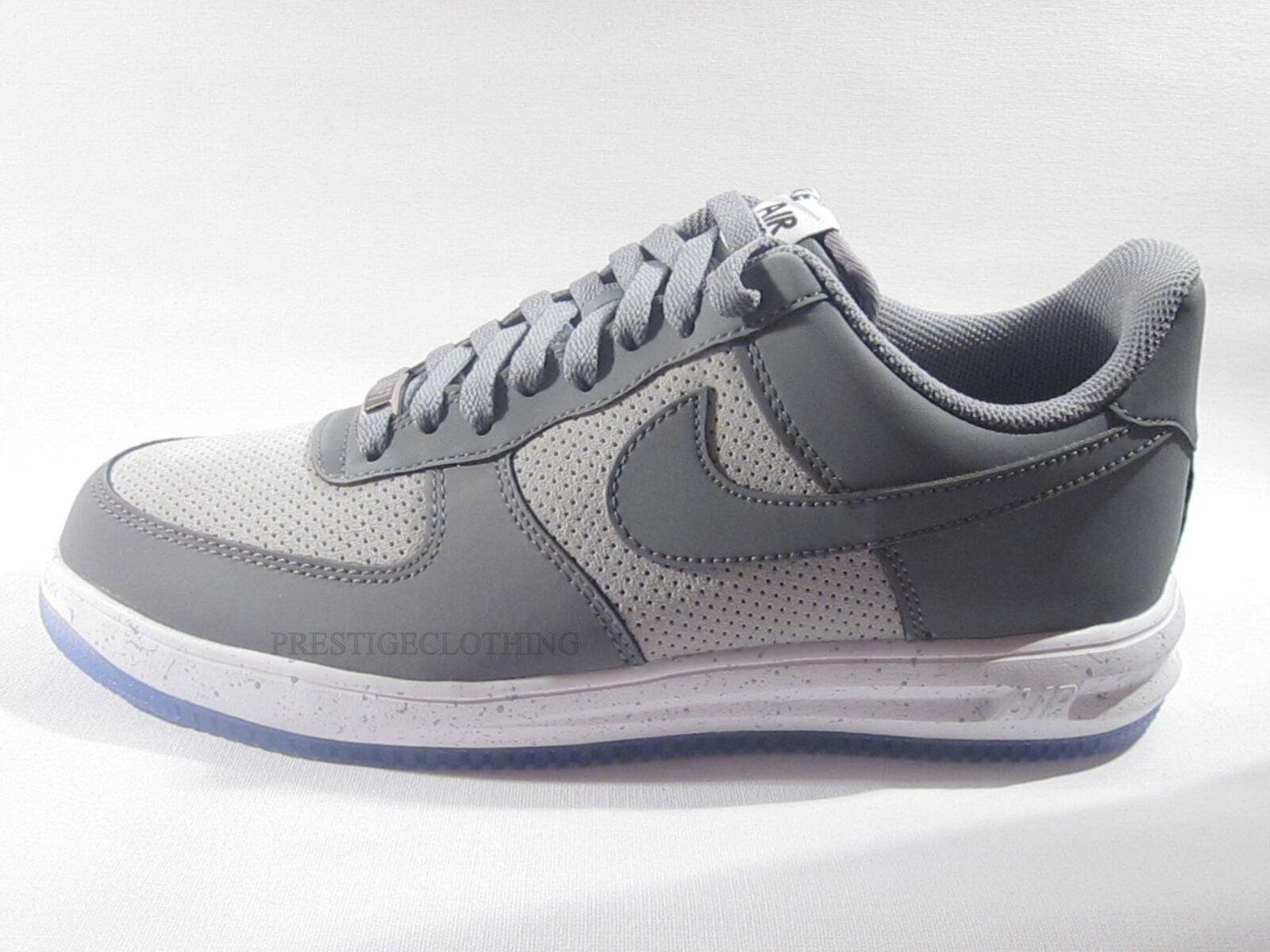 ORIGINAL NIKE LUNAR AIR FORCE 1 '14 GREY WHITE TRAINERS 654256006 EX DISPLAY