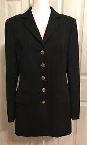 Escada-Blazer-Women-039-s-Black-Button-Down-Wool-Blend-Jacket-Size-8-10-Missing-Tag