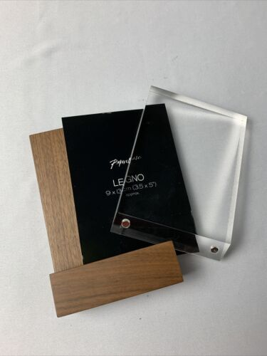 """Desk Picture Frame Paperchase Legno Glass Frame Walnut 5""""x3.5"""" NEW"""