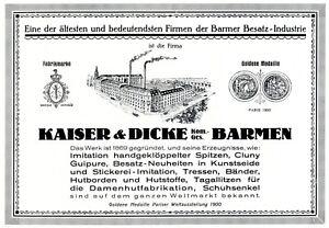 Besatz-Industrie-Kaiser-amp-Dicke-Barmen-Reklame-1925-gekloeppelte-Spitze-Werbung