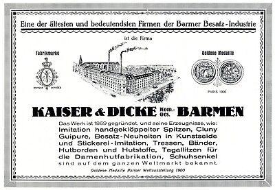 Aus Dem Ausland Importiert Besatz Industrie Kaiser & Dicke Barmen Reklame 1925 Geklöppelte Spitze Werbung Verpackung Der Nominierten Marke