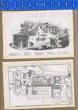 ROME: Plans & View of the Forum  - 1880s Prints (x2)