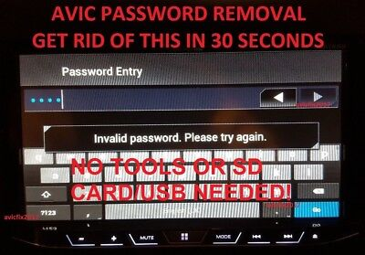 AVIC-6100NEX PASSWORD//UNLOCK REMOVAL FOR PIONEER AVH-4100 NEX AVIC-5100NEX