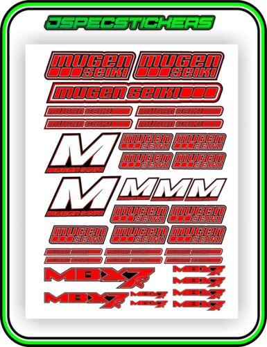 RC MUGEN SEIKI 1//8 MBX7R STICKER DECAL SHEET NITRO OFFROAD REMOTE CONTROL RED