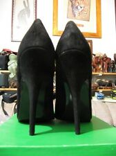 "Sacha London Alto 5"" stiletto heel black-suede SZ 10, low-cut vamp toe cleavage"
