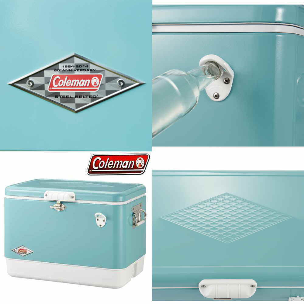Coleman  Vintage Turquoise 54-Quart Steel-Belted Cooler New in factory Box  store sale outlet