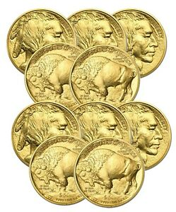 Lot-of-10-Random-Date-1oz-American-Buffalo-50-Gold-Coins-BANK-WIRE-Payment-Only