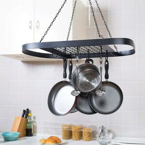 Image Is Loading Large Ceiling Hanging Metal Pot Saucepan Pan Storage