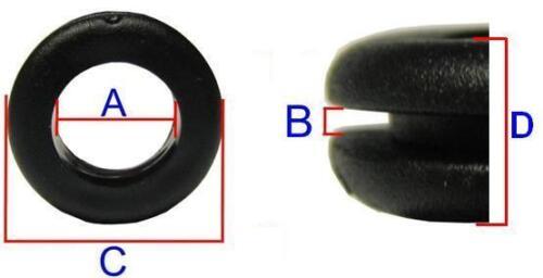 10 Stück Set Gummitüllen Kabeldurchführungen Kabeltüllen ca 6,0 1,5mm