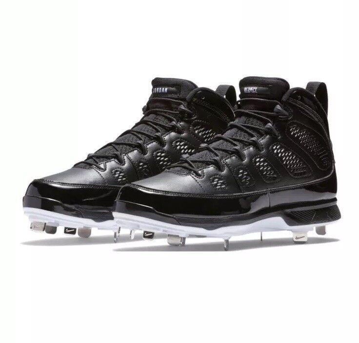 Nike Air Jordan 9 MCS METAL BLACK RE2PECT WHITE AA1265-011 sz 9 BASEBALL CLEAT