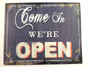 Come In We'Re Open We Are Vintage Detail Decor Metal Sign New #65871-2