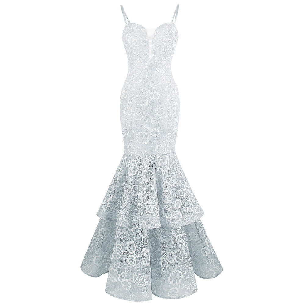 Angel-fashions Woherren Spaghetti Strap Lace Ruffle Mermaid Evening Dress 417