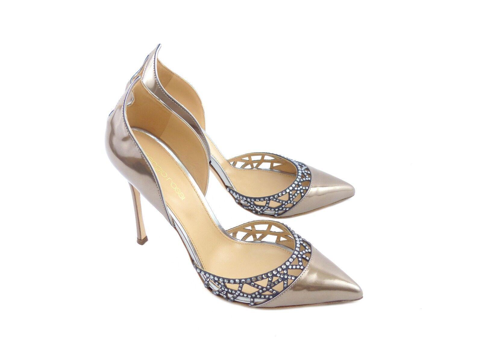 Descuento de liquidación Sergio Rossi 'Tesor' Oro Rosa Mirrored Leather with Silver/Ash [ 65% OFF  ]