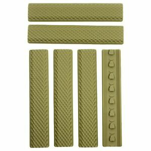 "Pack of 6 KeyMod Rail Covers Textured Soft Rubber Panel Anti Slip 6.25"" - Tan"