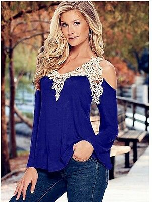 New Fashion Off Shoulder Women Long Sleeve Casual Lace Blouse Loose Tops T-Shirt