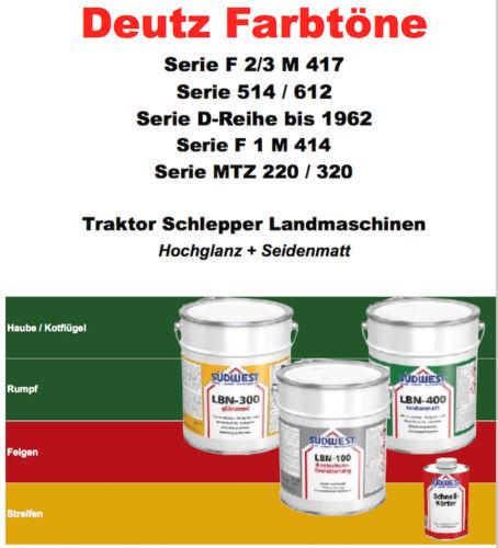Deutz F1+F2//3+514//612+MTZ+D bis 1962 Lack Farbe Traktor Schlepper Landmaschinen