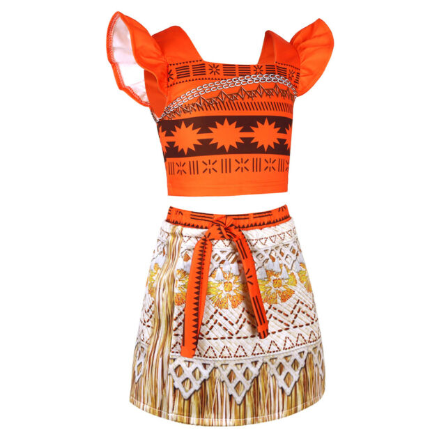 MUABABY Moana Girls Adventure Outfit Costume Skirt Set with Nec.. Free Shipping