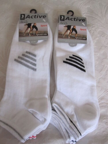 """6PRS BIG FOOT /""""ACTIVE SPORT/"""" WHITE TRAINER SOCKS WITH STRIPES BNWT SIZE 11-14"""
