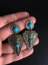 Turquoise Earrings Bronze Aztec Hippie Bohemian Ethnic Boho Festival Tribal A118