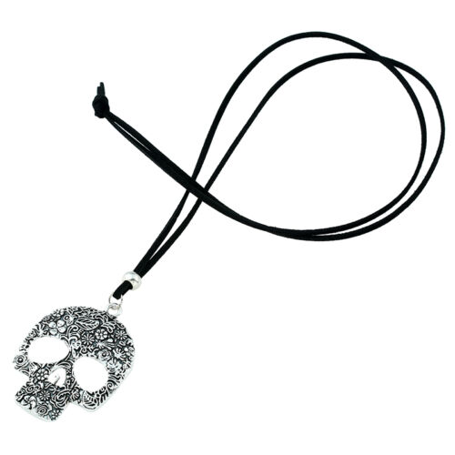 Lagenlook Large Abstract Alloy Flower Skull Pendant Long Suede Leather Necklace