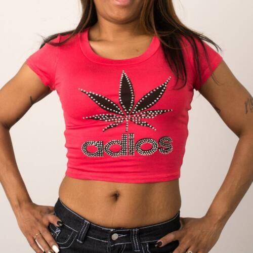 New Juniours Coral Crop Top T-Shirt With Rhinestones Weed Adios Casual S,M,L