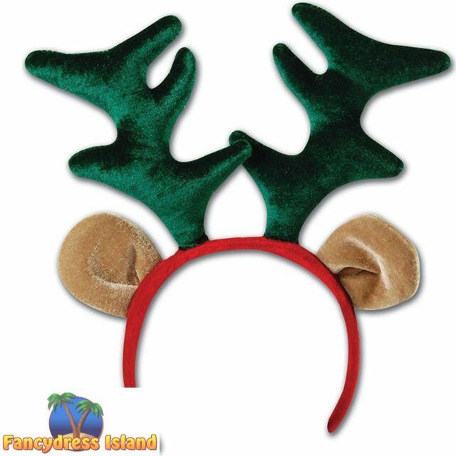 Women Xmas Deluxe Velvet Reindeer Antlers Head bopper Headband