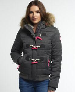 Womens Jacket Marl Toggle Puffle Superdry New Nero 04qWgW