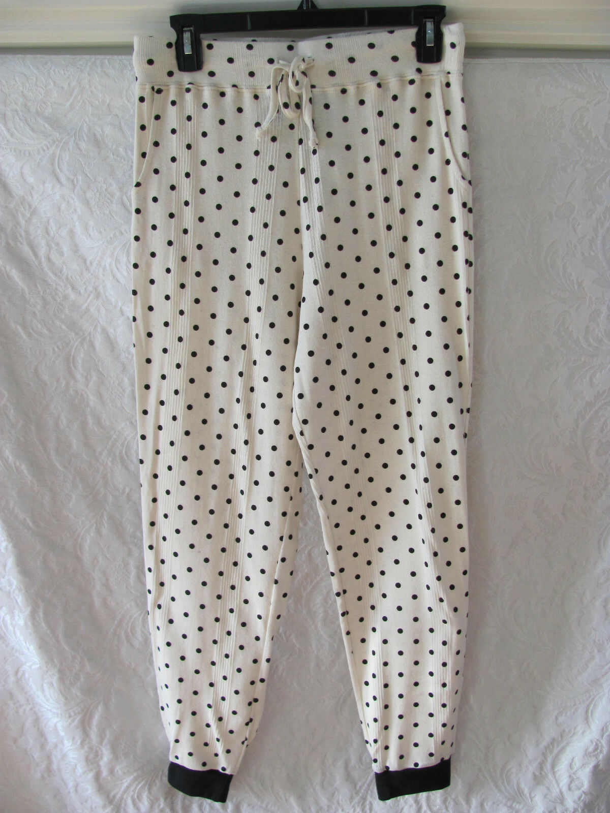 Edith Miller Sweatpants Lounge Pants Polka Dots-Vintage Champagne-Med- NWT  158