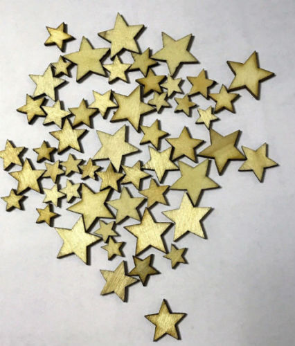 Plywood Wooden 50pack Stars shape Craft Scrapbooking Ply Wood star Embellishment