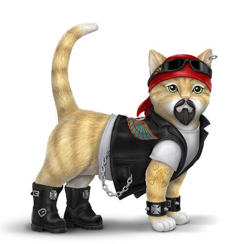 Bradford Exchange Dawg Crusher Biker Cat Figurine