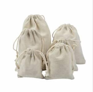 Storage Laundry Bag Xmas Sack Stocking 5pcs Cotton Plain Drawstring Bags