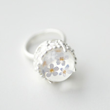 Real White Daisy Handmade Rings Dried Pressed Natural Fresh Flower