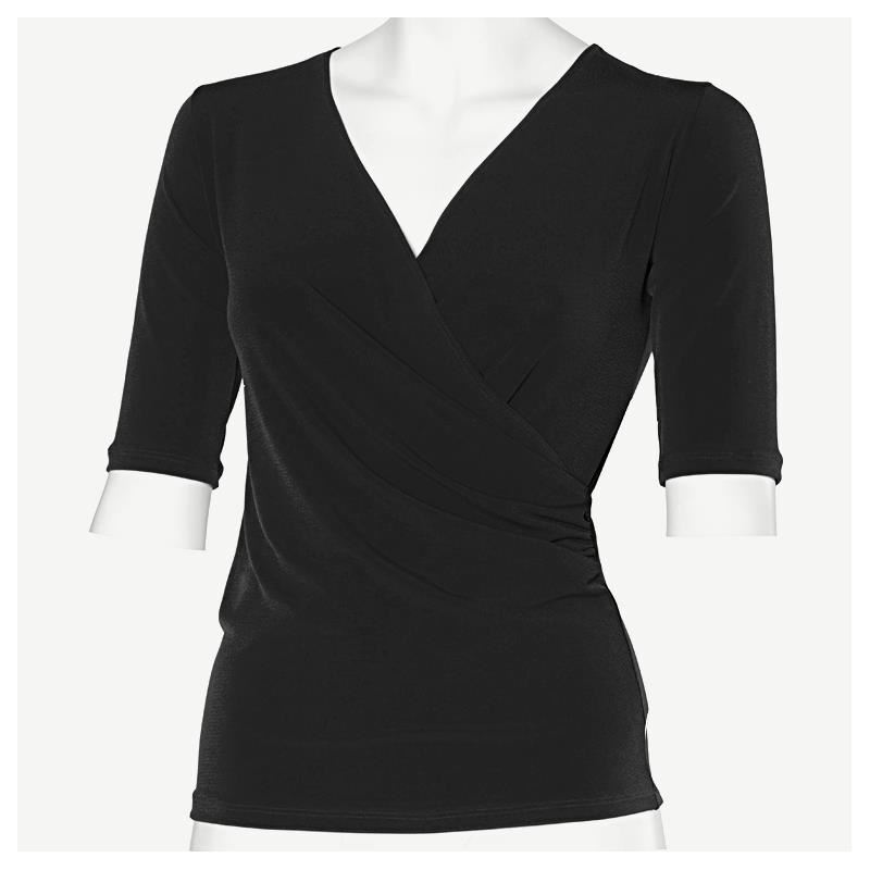 Intermezzo 6183 Tanz-Shirt schwarz + rot, Funktionsshirt, Ballroom, 3 4 Arm TOP