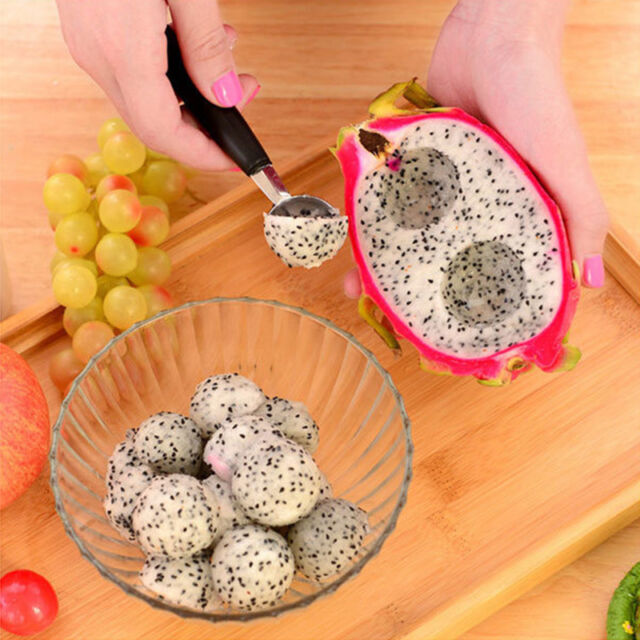 Stainless Steel Dual Double-end Melon Baller Scoop Fruit Ice Cream Dessert Spoon