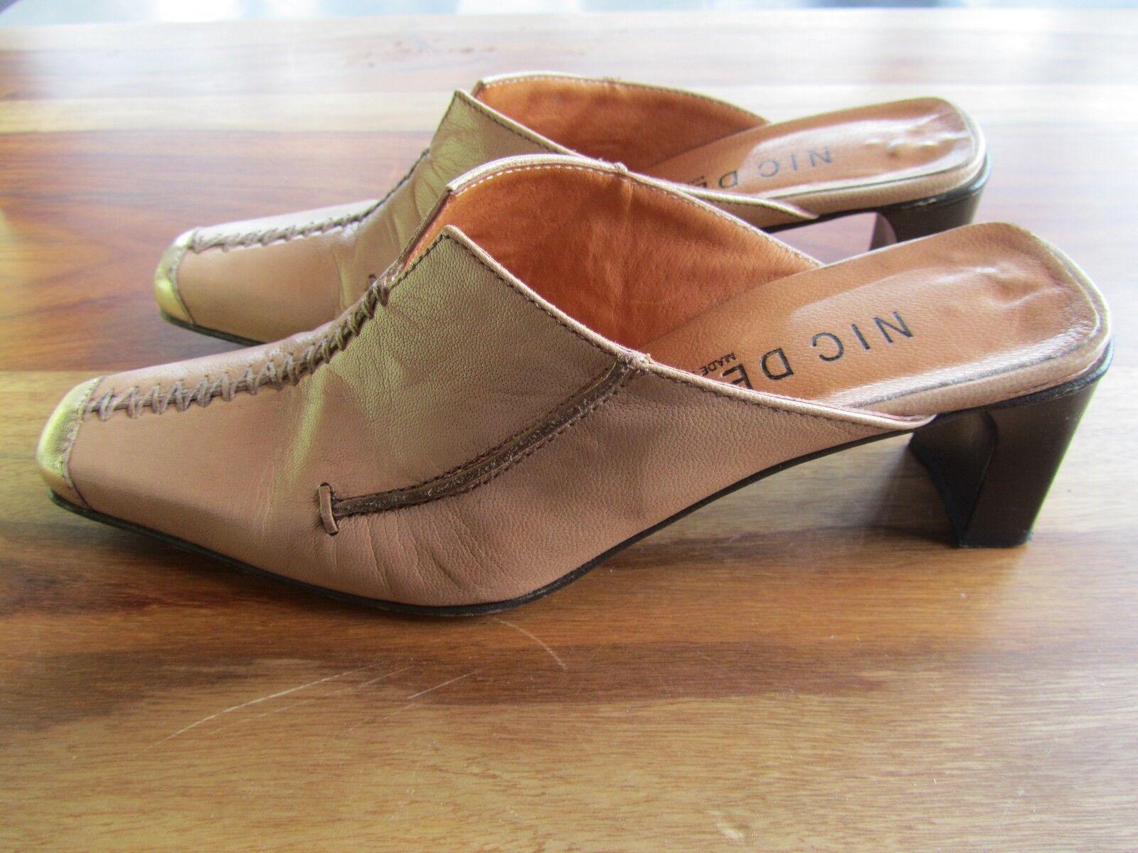 NIC DEAN PERLATO ORO VITELLO SLIP ON LADIES Schuhe SIZE 36 SAND 50mm HEEL