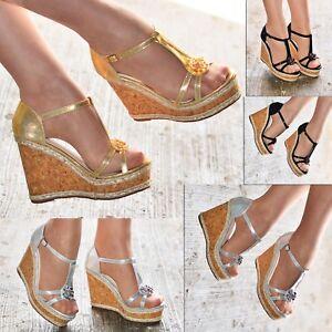 6d92c2380f58 Image is loading Ladies-Platform-Strappy-Wedge-Sandals-Open-Toe-Cork-
