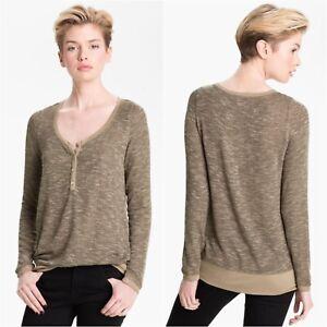 Soft-Joie-Women-s-Beige-Brown-Annika-Henley-Knit-Long-Sleeve-Top-Blouse-Size-M