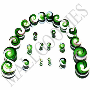 V098 Double Flare Green White Swirl Glass Saddle Plugs Spiral 6G to 7/8""