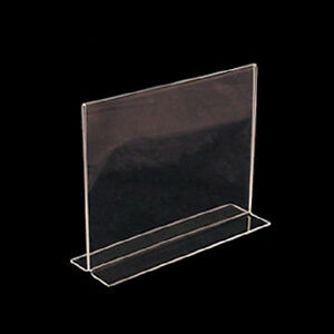 Horizontal double sided stand up acrylic sign holder 11 - Portafoto da tavolo plexiglass ...