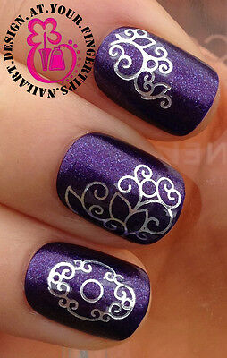 NAIL ART WRAP WATER TRANSFER DECALS SHINEY SILVER SWIRLS & LINES #42