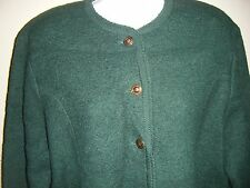 Vintage TALLY-HO 100% Boiled Wool CARDIGAN SWEATER Sage Green Brass Buttons VGC