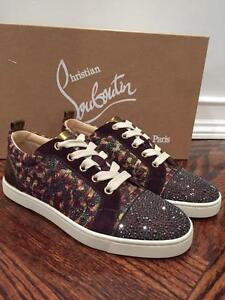 4d4364634369 Image is loading NIB-Christian-Louboutin-Gondolastrass-Brown-Low-Flat- Trainer-