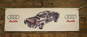 Audi-Quattro-Typ-85-UR-WR-Rallye-Auto-grosse-PVC-Arbeit-Shop-Banner-Garage