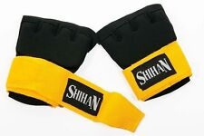 Kick-Boxing QUICK INSERT GEL Padded Hand Wrap Gloves Black/Yellow - Junior