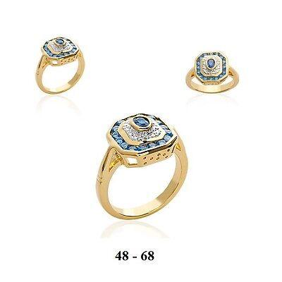 Dolly-Bijoux Grosse Bague T64 de 22mm Diamant Cz 13//10mm Plaqué Or 18K 5Microns