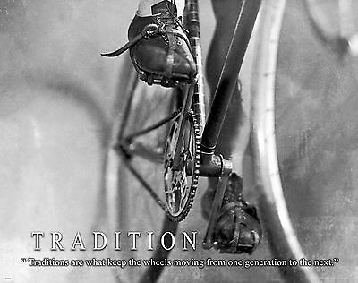 Bicycle Motivational Poster Art Print Antique Road Bike Helmet Shorts MVP441