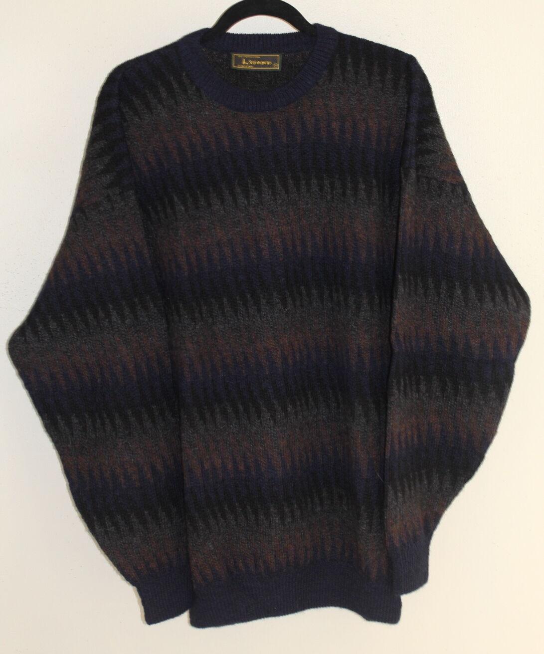 Peru Unlimited  Artistic 100% Alpaca Wool Zig-Zag Plush Luxury Sweater Sz XL