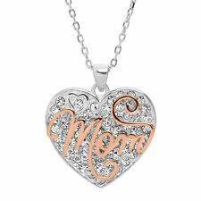 'Mom' Two-Tone Crystal Heart Pendant in Rose Gold Plated Sterling Silver, 18""